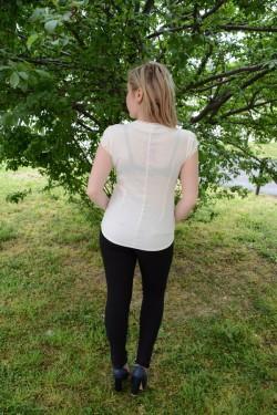 Camasa de vara in nuanta de crem, model casual-elegant