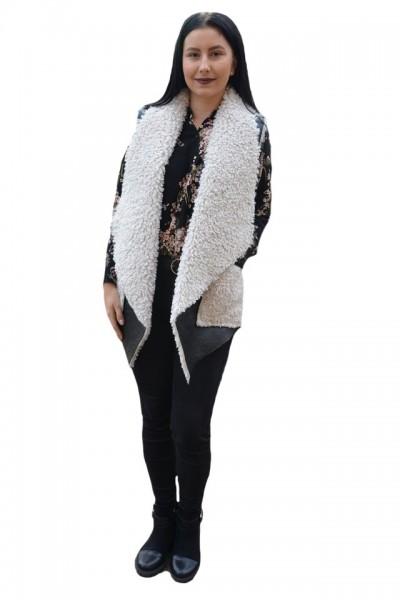 Cardigan tip vesta Olivia din piele,croi asimetric,nuanta negru-alb