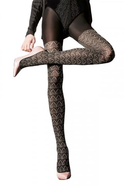 Ciorap pantalon, nuanta neagra cu model 3D cu aspect ajurat, bej