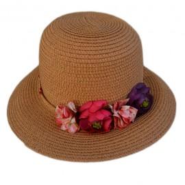 Palarie fashion de culoare bej, cu flori mici din material textil