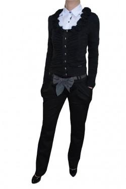 Poze Pantalon cu buzunare laterale aplicate, nuanta de negru