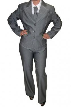 Poze Pantalon de culoare gri deschis cu talie normala si croi clasic