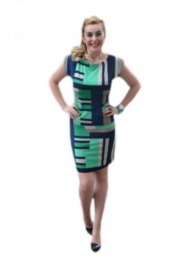 Rochie casual, design aparte cu imprimeu in nuante de bleumarin si verde