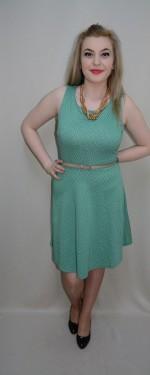 Rochie casual, pe turcoaz, cu material pepit si design abstract, fusta in clos