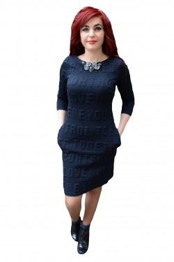 Poze Rochie chic cu buzunare, nuanta de bleumarin, detaliu fin