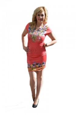 Rochie de vara, culoare corai cu imprimeu floral