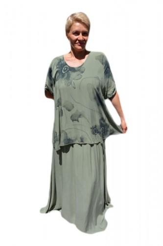 Poze Rochie de vara culoare de kaki cu imprimeu gri