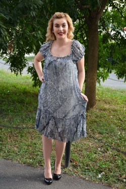 Rochie de vara masura mare din voal de culoare bleumarin