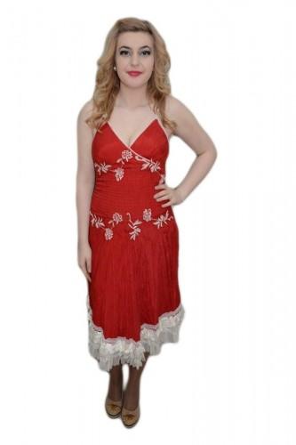 Poze Rochie deosebita cu aspect creponat, rosie, cu detalii albe