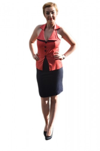 Poze Rochie deosebita tip costumas, corai-bleumarin, model scurt