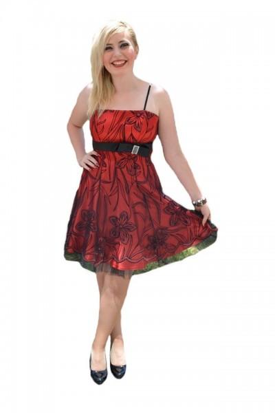 Poze Rochie eleganta de seara, de culoare rosie cu broderie florala neagra