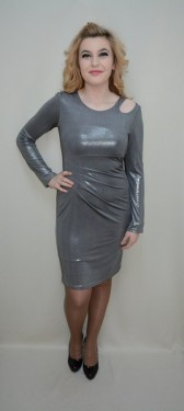 Rochie eleganta, nuanta de argintiu, decolteu interesant