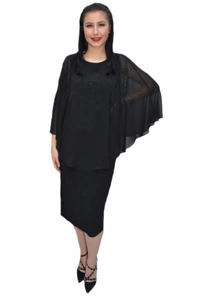Poze Rochie eleganta Olivia din voal si insertii de strasuri,negru