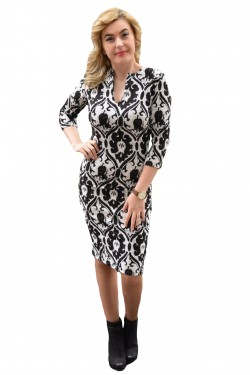 Poze Rochie fashion de ocazie, culoare alb-negru, cu croiala cambrata