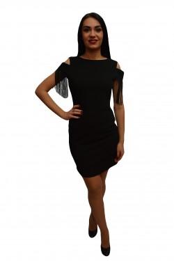 Poze Rochie fashion, neagra, franjuri la maneca si fermoar lung la spate