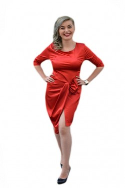 Poze Rochie feminina, cu o crepatura pe piciorul stang, rosie