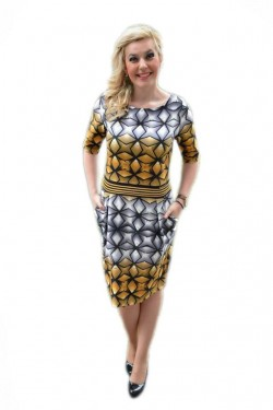 Rochie feminina, cu un imprimeu grafic,masuri mari