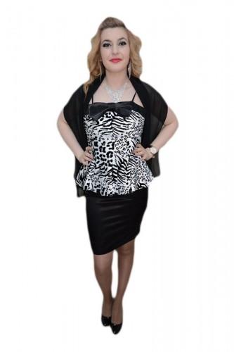 Poze Rochie la moda, nuanta de negru-alb, animal print chic