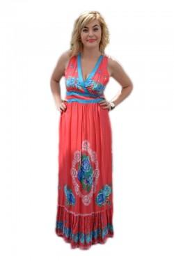 Rochie lejera, de vara, lungime maxi, culoare rosie