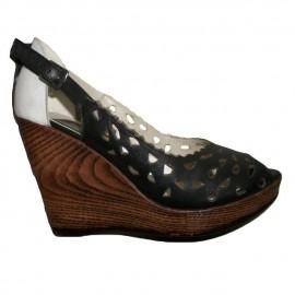 Poze Sanda tip pantof cu talpa ortopedica, neagra, cu varf decupat