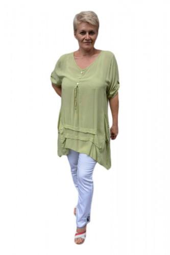 Poze Bluza casual ,asimetrica, cu design de buzunare nuanta de verde