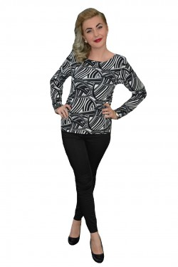Poze Bluza casual de nuanta negru-alb, din material fin, cu maneci lungi