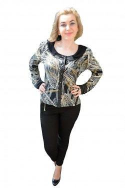 Poze Bluza cu decolteu rotund, nuanta negru-alb, imprimeu abstract