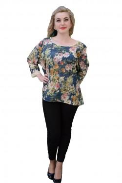 Poze Bluza cu maneca trei-sferturi, design asimetric si imprimeu floral