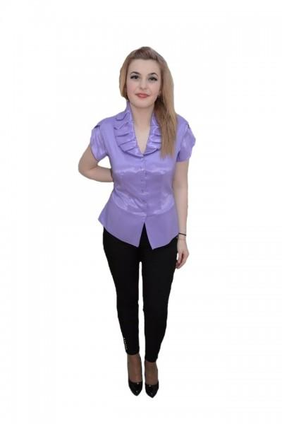 Poze Bluza cu nasturi tip camasa, de culoare mov, cu maneca scurta