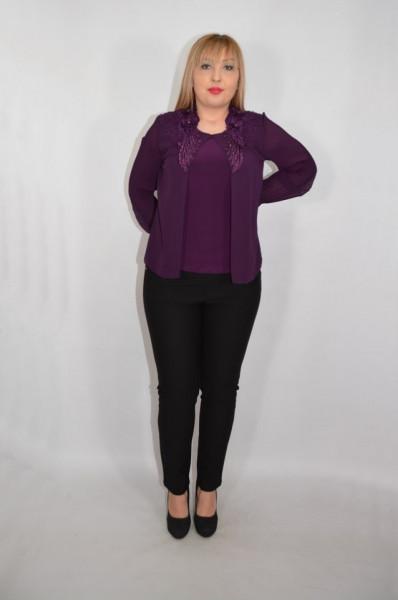Bluza eleganta dama din voal cu applicati de margele si strasuri,MOV