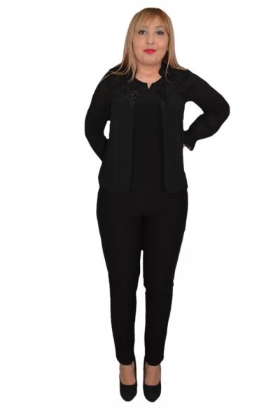 Bluza eleganta dama din voal cu applicati de margele si strasuri,neagra