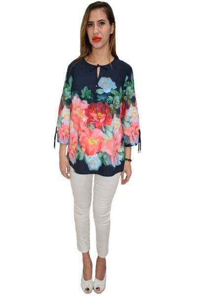 Poze Bluza eleganta, maneca trei-sferturi, design floral pe fundal bleumarin