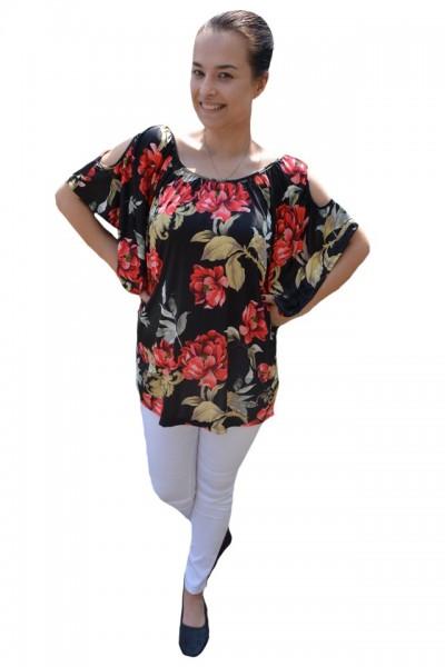 Poze Bluza lejera Mira cu imprimeu floral si decupaj la umeri,nuanta de negru