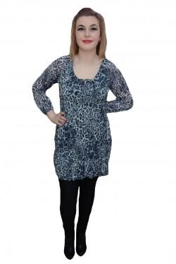 Poze Bluza lejera, nuanta de gri, imprimeu animal-print in tendinte