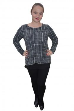 Poze Bluza moderna cu maneca lunga de culoare gri cu voal negru