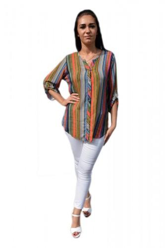 Poze Bluza oversize cu nasturi in fata si dungi fine, multicolore