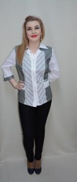 Camasa cu maneca lunga, de ocazie, in nuante alb-negru