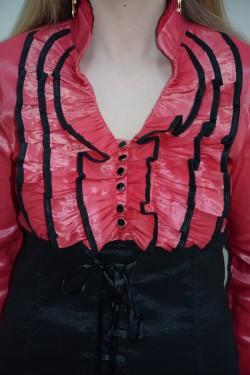 Camasa eleganta si mulata, nuanta de corai, nasturi negri