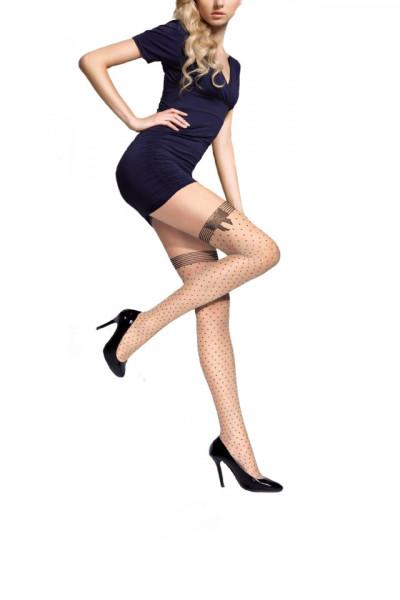 Ciorap rafinat de dama cu design de dunga si buline negre