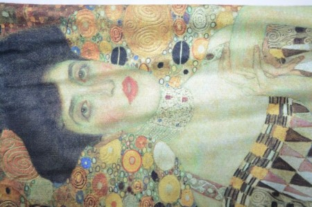 Esarfa Denisse model cu abstract-painted,maro