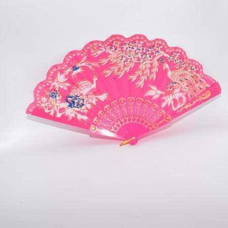 Evantai chic din material textil de diferite culori cu design tematic