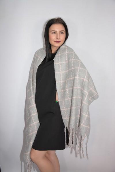 Fular dama Dalma ,model cu patratele,gri