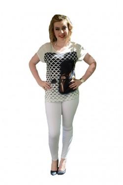 Poze Pantalon in tendinte din material subtire, alb, buzunare aplicate
