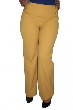 Poze Pantaloni lungi, croi drept si larg pe picior, de culoare galbeni