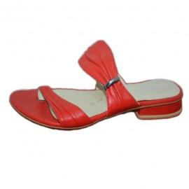 Poze Papuc modern din piele, in culorile alb si rosu cu talpa plata