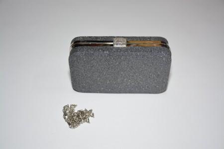 Poseta tip clutch,eleganta cu sclipici,cadru metalic lucios,nuante argintiu-negru,auriu,auriu metalic