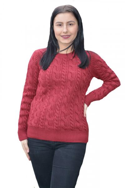 Poze Pulover tricotat Dianna ,model rafinat impletit,marsala