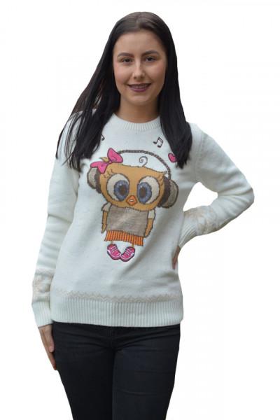 Poze Pulover tricotat Jullia ,model cu bufinita,alba