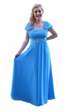 Poze Rochie chic masura mare, de culoare albastra, cu model fronsat