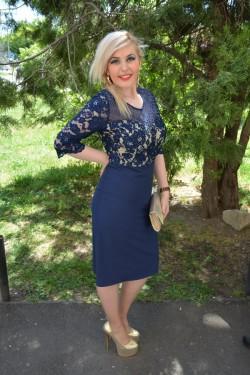 Rochie de ocazie, masura mare, bleumarin, cu maneca scurta